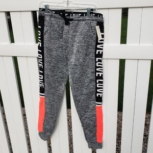 🌻NWT Pink Gray Black Love Sweatpants Drawstring
